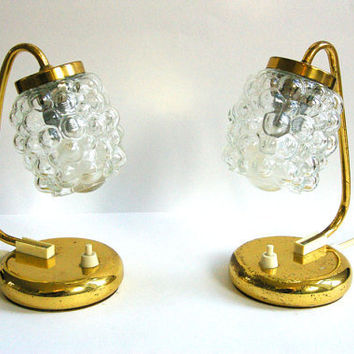 Stunning pair of European brass bedside lamps with  Glass Shades, mid century