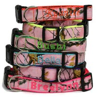 Personalized Pink Camo Dog Collar made with Realtree Fabric
