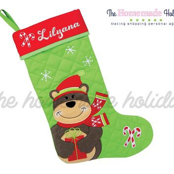 Stephen Joseph Bear Embroidered Christmas Stocking