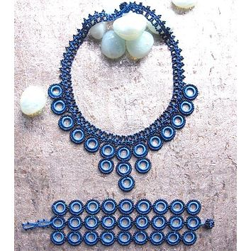 Blue Loop Crochet Necklace & Bracelet Set