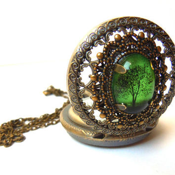 Victoria and a Emerald Bewitched Ending: Pocket watch Locket style necklace--Mother's Day Gift