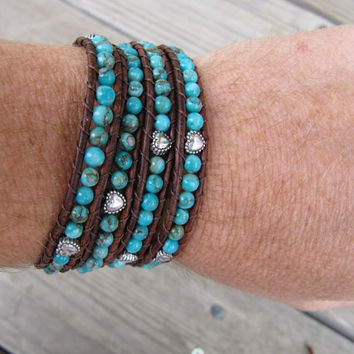 Chan Luu Style Beaded Leather Wrap Bracelet with Turquoise Gemstones & Silver Hearts