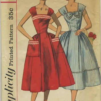 Simplicity 1950s Sewing Pattern Rockabilly Swing Garden Party Tea Dress Full Skirt Patch Pockets Bare Shoulders Uncut Bust 36