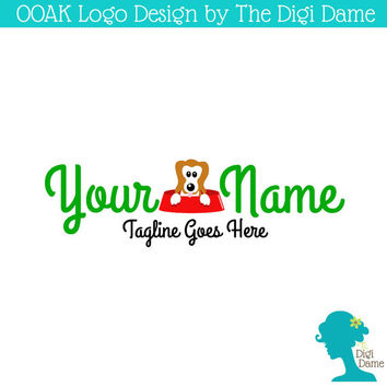 OOAK Premade Logo Design: Dog in a Red Bowl with Green Text