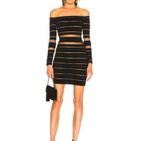 BALMAIN Banded Off Shoulder Mini Dress in Black | FWRD