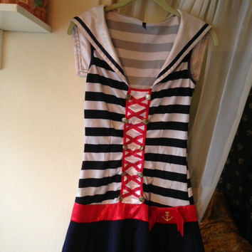 Vintage 1990's Leg Avenue Women's Sexy Sailor Girl Mini Dress Costume Size Medium