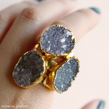 Gold Druzy Quartz Gemstone Rings - Choose Your Stone - Adjustable, Cocktail Rings