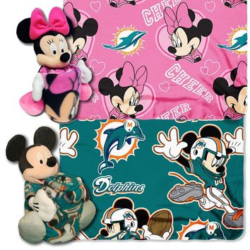 Miami Dolphins NFL Mickey and Minnie Mouse Throw Combo