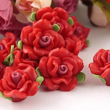Free Shipping 30Pcs Polymer Fimo Clay Red Flower With Leaf Spacer Beads 15mm For Jewelry Making Craft DIY