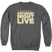SNL/LIVE FROM NY - ADULT CREWNECK SWEATSHIRT - CHARCOAL -