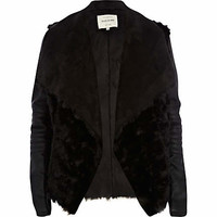 Black shearling panel waterfall biker jacket