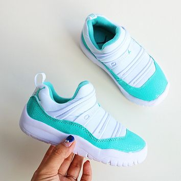 Nike Air Jordan 11 AJ11 KAA2002 Kid Slip on Shoes Casual Sneaker Basketball Shoes White Mint Green 24-35