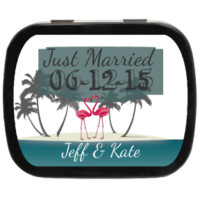 Flamingo Beach Wedding Personalized Wedding Mint Tins for Candy Favors, Party Favors, Wedding Favors