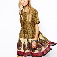 ASOS RECLAIMED Vintage Dress In Indian Summer Print