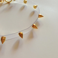Clear Gold Studded Dog Collar Choker 90s