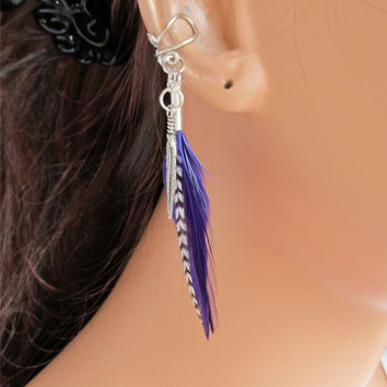 Ear Cuff Wrap Purple and Grizzly Feathers Cartilage Non Pierced Silver Zebra Wire