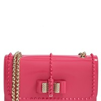 Christian Louboutin 'Sweet Charity - Small' Studded Patent Leather Shoulder Bag - Pink