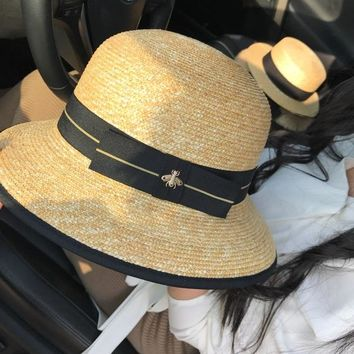 Women All-match Temperament Fashion Multicolor Webbing Little Bee Bucket Hat Straw Cap Sun Hat