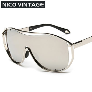 Conception Design Mens Sunglasses Oversized Big Frame Male Oculos lentes de sol Goggle Style Sun Glasses Man Gold Frame Shades