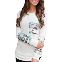 Womens Cool Aztec Print Long Sleeve Cotton Top