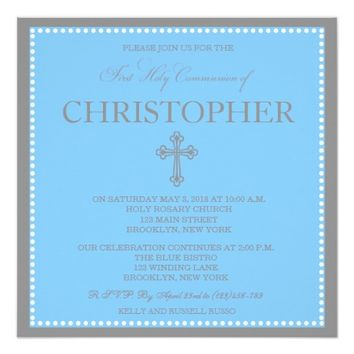 Elegant Modern First Communion Invitation for Boys