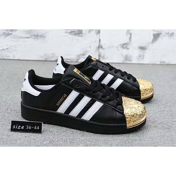 Adidas Superstar Trending Women Men Casual Electroplating Color Shell Toe Metal  Board Shoes(4-Color) Black Gold I-CQ-YDX