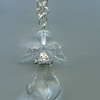 glass angel necklace charm silver chain handmade bead jewelry clear #jewls5000