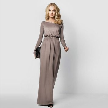 Autumn Dress Women 2018 Vestidos Mujer Maxi Dress Women Evening Party Gown Dress Long Sleeve Elegant Pleated Long Dresses