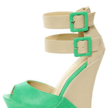 Monaco 3 Sea Green and Beige Belted Color Block Wedges