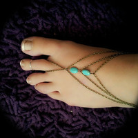 Boho Slave Barefoot Sandal Foot Bracelet Bronze Chain Bohemian Two Turquoise Beads Three Strand Foot Jewellery Barefoot Sandles