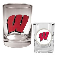 Wisconsin Badgers 2-pc. Rocks and Shot Glass Set