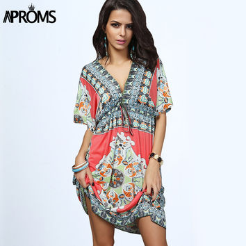 Boho Summer Women Dress Sexy Loose Sundresses Deep V Ethnic Dashiki Print Tunic Beach Dresses Big Size 2XL Woman SunDress Robe