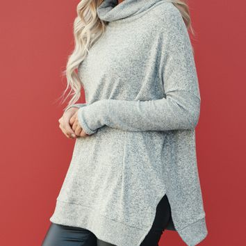 Left On Read Cowl Neck Sweater (Heather Grey)