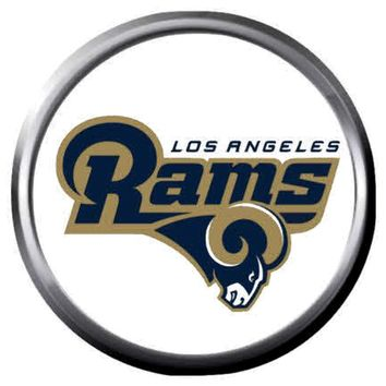NFL Superbowl LA Rams Golden Football Fan Logo 18MM-20MM Snap Jewelry Charm New Item