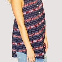 Aztec Button Up Top- Navy