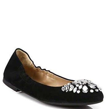 Tory Burch Delphine Ballet Flat Suede Crystal Black, 9 M US