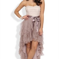 Two Tone Glitter Ruffle High Low Prom Dress with Side Waist Tie