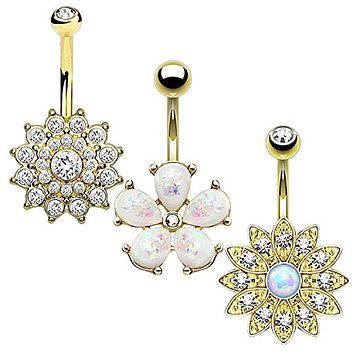 BodyJ4You 3PC Jeweled Created-Opal Floral Belly Button Ring Set 14G Surgical Steel Curve Barbell Goldtone