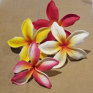 Large Foam Plumeria Hair Pick, Various Colors