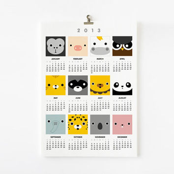 2013 Calendar Cute Animal 8 x 10 art print in French / German / Spanish / Italian / English / Japanese