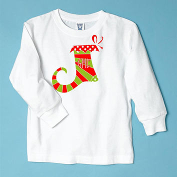Striped Stocking with Monogram on Long Sleeve White Tee