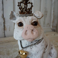 French farmhouse pig statue with crown wide eyed gray white vintage hog statuary embellished ornate rhinestone home decor anita spero design