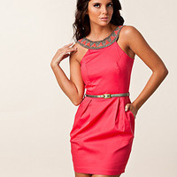 Sateen Trim Belt Dress, Elise Ryan