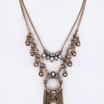 Mixed Metal Layered Statement Necklace