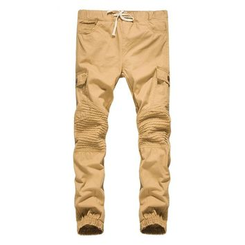 2017 new winter men's cotton washed casual pants bag tether side crease