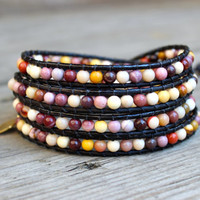 Beaded Leather Wrap Bracelet 4 or 5 Wrap with Moukaite Jasper Beads on Natural Black Leather Colorful
