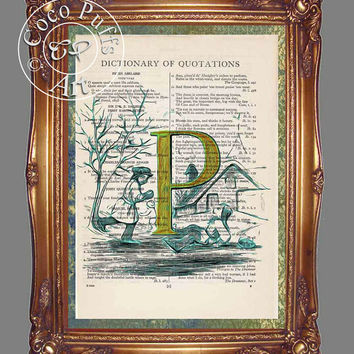 Yellow Letter P with Children Ice Skating on a Frozen Pond Art Beautifully Upcycled Vintage Dictionary Page Book Art Print
