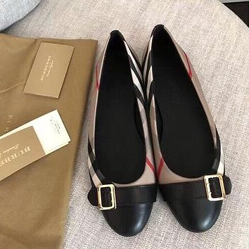 BURBERRY Fashion Women Casual Leather Single Shoe