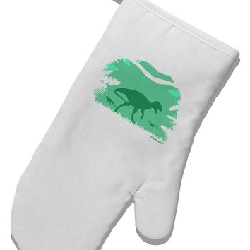 Dinosaur Silhouettes - Jungle White Printed Fabric Oven Mitt by TooLoud