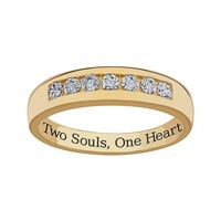 Sweet Sentiments 18k Gold Over Sterling Silver Cubic Zirconia Wedding Band - Men (White)